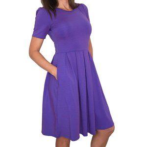LuLaRoe Amelia Striped Pockets Midi Dress